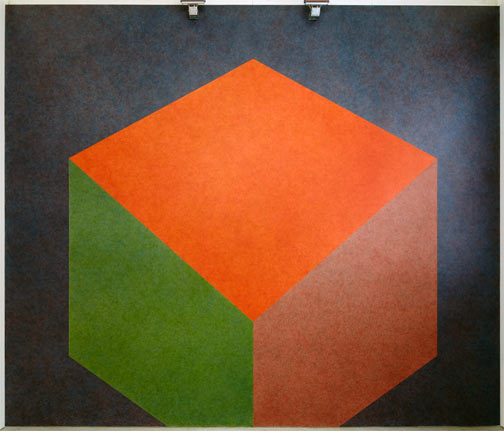 Sol LeWitt / Sol LeWitt Tilted Form with color ink washes superimposed  1987 Wall Drawing #524 Drawn by Nicolai Angelov Photo: Thomas Cugini, Zürich