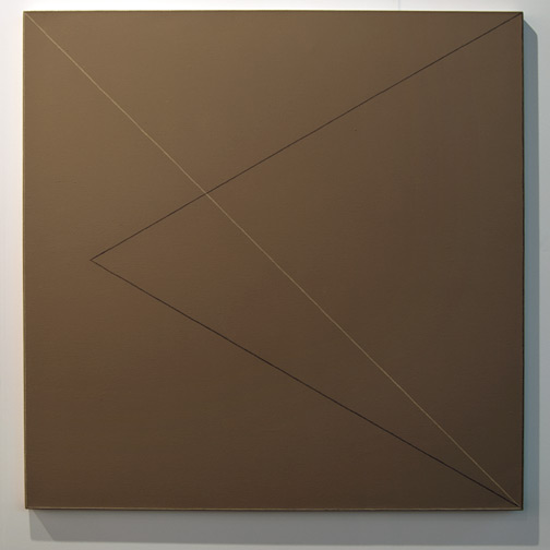 "Robert Mangold / Robert Mangold Two Triangles Within a Square #3  1975 122 x 122 cm / 48 x 48 "" acrylic, graphite and wax crayon on canvas"
