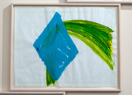 Richard Tuttle / Richard Tuttle Seasons #3 fall  2000 43.2 x 55.7 cm color pencil and acrylic on checkered paper