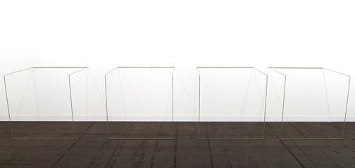 Fred Sandback / Fred Sandback Untitled (Nr. 6)  1968/1983 91 x 472 x 91 cm Mild steel rod (Mercedes Kaledoniengreen DB867)