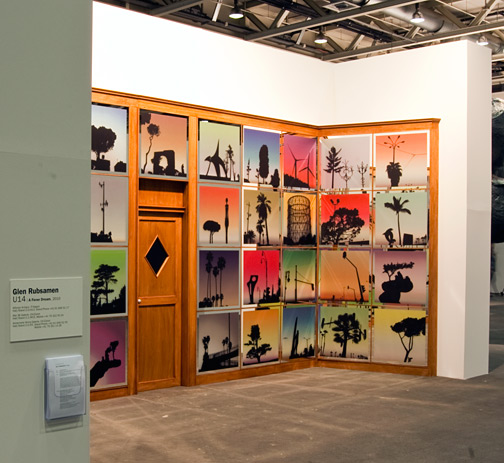 Glen Rubsamen / ART Unlimited Glen Rubsamen A FEVER DREAM  2010 Installation, UV-digital print on dusted crystal coating on mirror  glass, wood, aluminum, blu-ray video (9 min.)