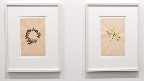 Richard Tuttle / Richard Tuttle Checkerboard Series (2)  1968 22,8 x 14,8 cm watercolor (red, green) on paper Checkerboard Series (4)  1968 22,9 x 14,5 cm watercolor (yellow, purple) on paper