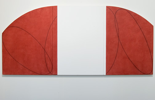 Robert Mangold / Robert Mangold Red/White Zone Painting  1996 114 x 251 cm Acrylic and pencil on canvas