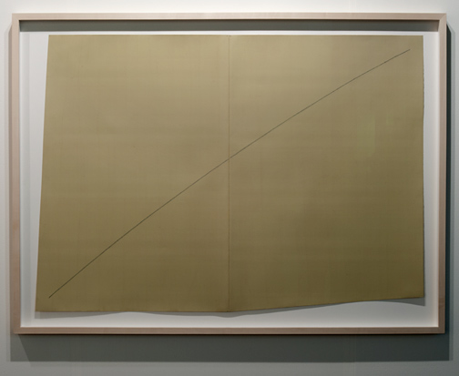 Robert Mangold / Robert Mangold A curved line within two distorted rectangles  1979 99,9 x 138 cm Acrylic an graphite on paper