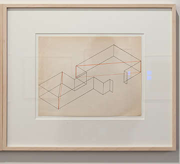 Fred Sandback / Fred Sandback Untitled (Dwan Gallery, New York, Two-part Construction)  1970  21.6 x 27.9 cm Orange ink on printed paper