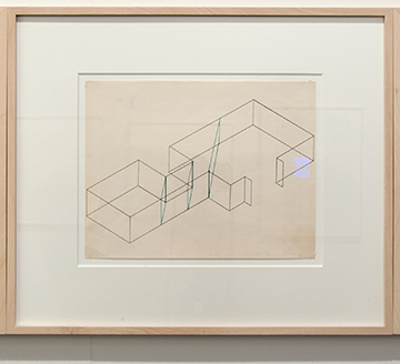 Fred Sandback / Fred Sandback Untitled (Dwan Gallery, New York, Three-part Construction)  1970  21.6 x 27.9 cm Blue pencil on printed paper