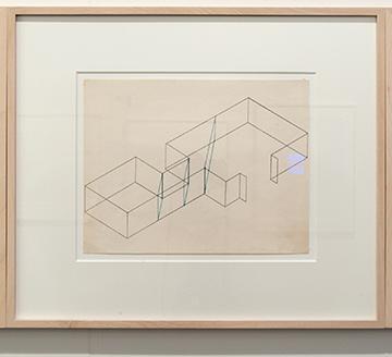Fred Sandback / Fred Sandback Untitled (Dwan Gallery, New York, Three-part Construction)  1970  21.6 x 27.9 cm Blue pencil on printed paper