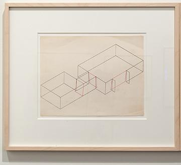 Fred Sandback / Fred Sandback Untitled (Dwan Gallery, New York, Three-part Construction)  1970  21.6 x 27.9 cm Pink pencil on printed paper