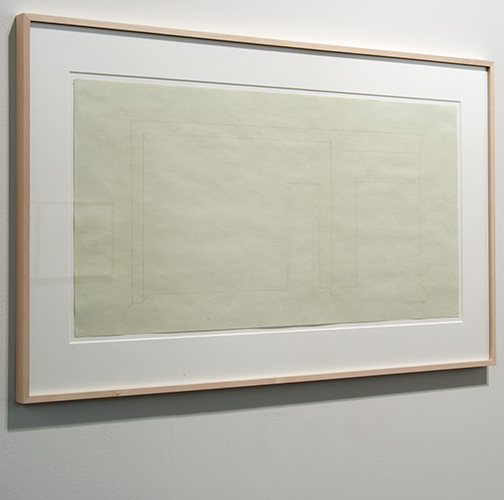 Fred Sandback / Fred Sandback Untitled  1983  36.2 x 73.7 cm White pastel pencil and pencil on green paper