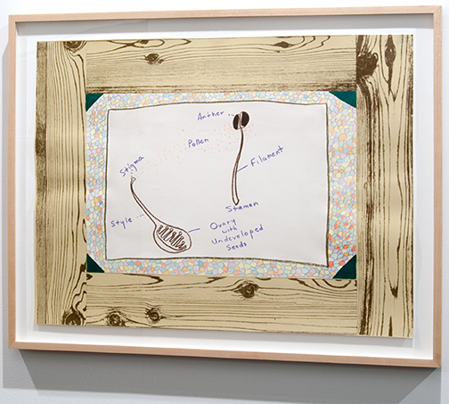 Ree Morton / Ree Morton Untitled (Woodgrain, Flower Parts)  1974 48,3 x 63,5 cm crayon and colored pencil on printed paper