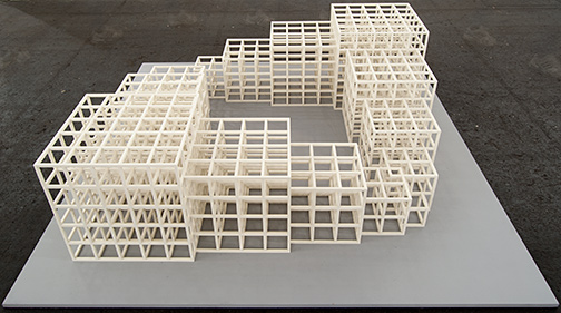 Sol LeWitt / Sol LeWitt 1,2,3,4,5 (Square)  1986 48,5 x 164,5 x 164,5 cm white painted wood structure