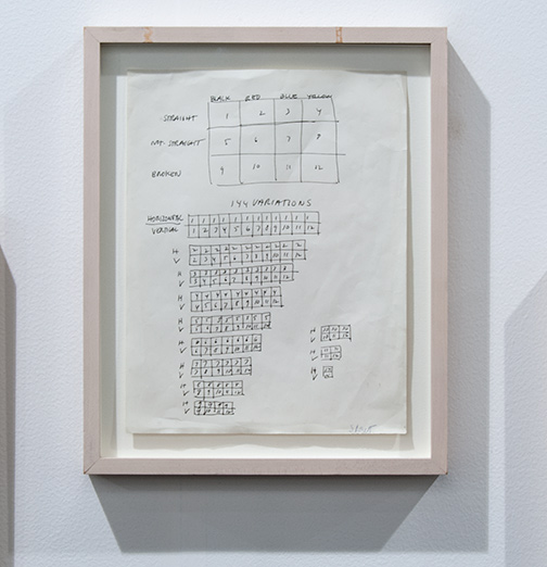Sol LeWitt / Sol LeWitt 144 Variations  1968 27,9 x 21,6 cm 11 x 8,5 inch ink on paper working drawing
