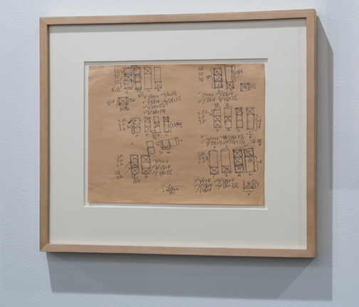 Sol LeWitt / Sol LeWitt Modular Structure (#6)  1967 21,6 x 27,9 cm 8,5 x 11 inch ballpoint pen on brown paper working drawing