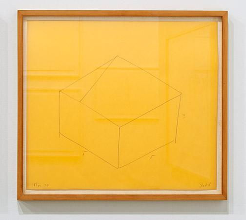 "Donald Judd / Donald Judd Untitled  1976 36.5 x 43 cm / 16.25 x 18.5 "" pencil on yellow paper"