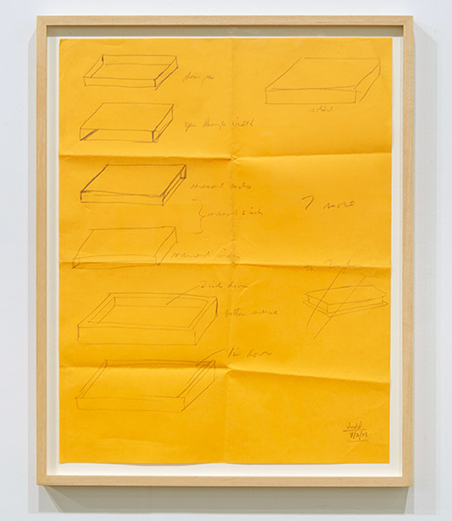 "Donald Judd / Donald Judd Untitled  1973 56 x 43.5 cm  /  24.25 x 19.5 "" pencil on yellow paper"