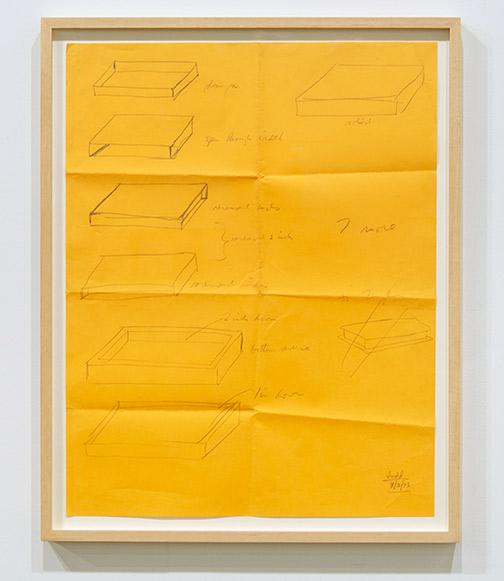 "Donald Judd / Donald Judd Untitled  1973 56 x 43.5 cm / 24.25 x 19.5 "" pencil on yellow paper"