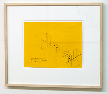 "Fred Sandback / Fred Sandback Untitled (One of Sixteen Variations of Two Diagonal Lines 1973/96 + cut drawings)  1973 / 1996  21.6 x 28 cm  /  8.5 x 11"" graphite on yellow paper"