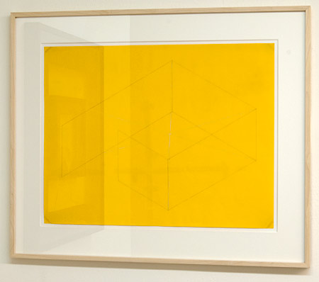 "Fred Sandback / Fred Sandback Untitled  1971                                                    42.8 x 55.8 cm  /  16.875 x 22"" pencil and white pastel on yellow paper"