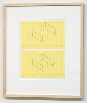 "Fred Sandback / Fred Sandback Untitled (no. 24 from 133 proposals for the Heiner Friedrich Gallery)  1969  12.7 x 20 cm  /  5 x 7.875"" ink and pencil on yellow lined paper  Untitled (no. 23 from 133 proposals for the Heiner Friedrich Gallery)  1969  12.7 x 20 cm  /  5 x 7.875"" ink and pencil on yellow lined paper"