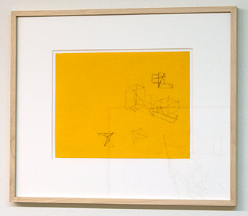 "Fred Sandback / Fred Sandback Untitled  1996 21.6 x 27.9 cm  /  8.5 x 11"" pencil on yellow paper"