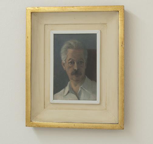 Antonio Calderara / Autoritratto  1951  18 x 12 cm Oel auf Holztafel