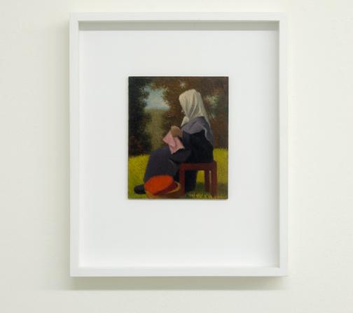 Antonio Calderara / Figura al Sole  1949  16 x 13 cm Oel auf Holztafel