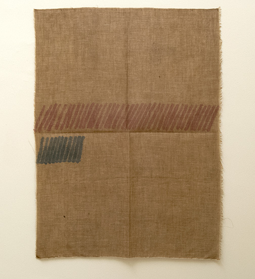 Giorgio Griffa / Obliquo  1972  148 x 109 cm  acrylic on dark canvas
