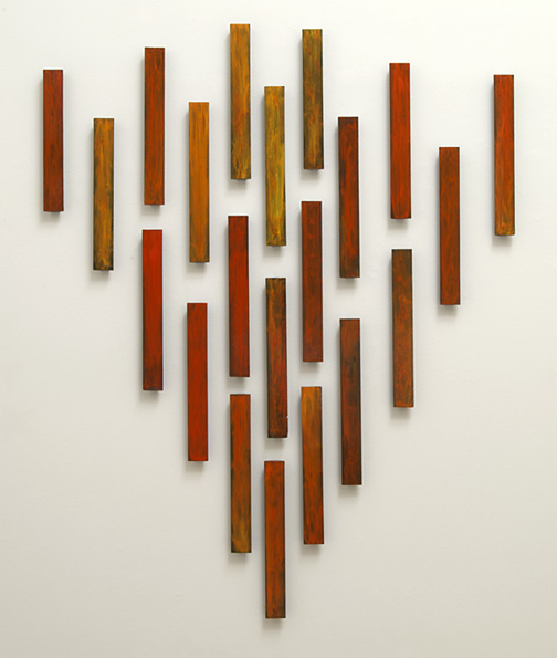 Joseph Egan / fire  2011  in 21 parts overall dimensions ca.  200 x 150 x 3.5 cm each part: 47 x 6 x 3.5 cm various paints on wood