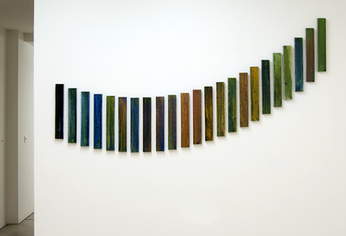 Joseph Egan / NAXOS  2011  in 23 parts dimensions variable each part: 29 x 4.5 x 2 cm various paints and sand on wood