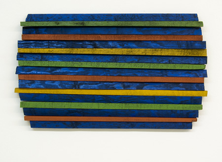 Joseph Egan / across the board Nr. 1 (Naxos)  2011  36 x 59.5 x 4 cm various paints on wood