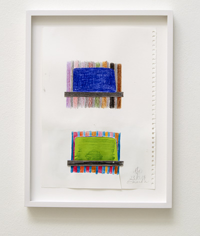 Joseph Egan / house and home Nr. 4  2009  29.7 x 21 cm framed: 36 x 27 x 2.5 cm colored pencil and collage on paper