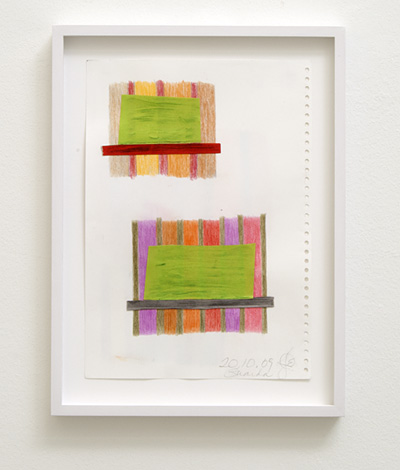 Joseph Egan / house and home Nr. 2  2009  29.7 x 21 cm framed: 36 x 27 x 2.5 cm colored pencil and collage on paper