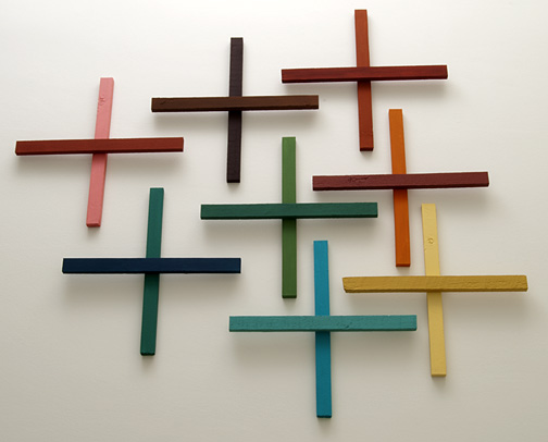 Joseph Egan / in addition Nr. 9  2011  in 8 parts dimensions variable each part: 60 x 60 x 5 cm various paints on wood