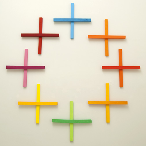 Joseph Egan / in addition Nr. 1  2011  in 8 parts dimensions variable each part: 60 x 60 x 5 cm various paints on wood