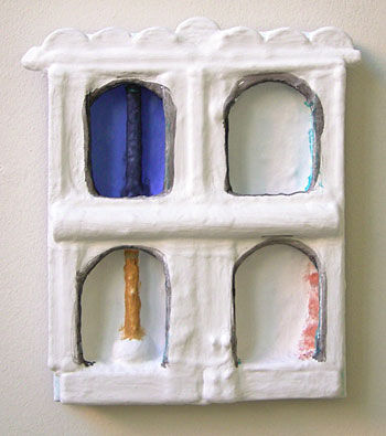 Joseph Egan / Set  2006  30 x 24 x 6 cm paints, sand and wood on canvasboard