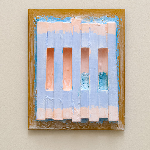 Joseph Egan / paintcote (Nr. 7)  2014  30 x 24 x 4 cm Various paints on wood