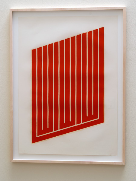 Donald Judd / Donald Judd Untitled (11-L)  1961-69 woodcut in cadmium red on cartridge paper 77.5 x 55.9 cm