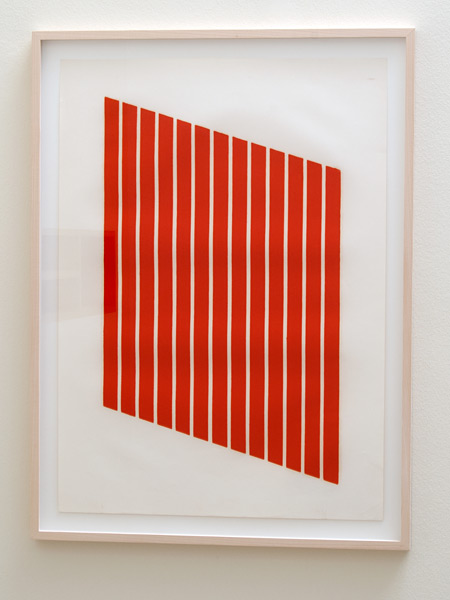 Donald Judd / Donald Judd Untitled (3-R)  1961-69 woodcut in cadmium red on cartridge paper 77.5 x 55.9 cm
