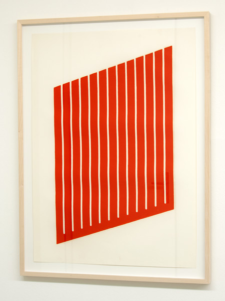 Donald Judd / Donald Judd Untitled (4-L)  1961-69 woodcut in cadmium red on cartridge paper 77.5 x 55.9 cm