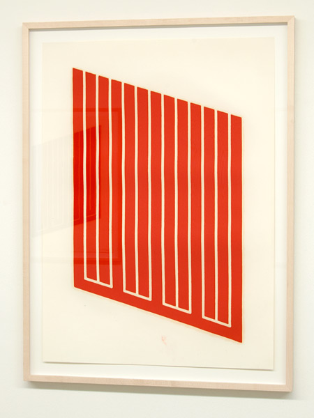 Donald Judd / Donald Judd Untitled (13-R)  1961-69 woodcut in cadmium red on cartridge paper 77.5 x 55.9 cm