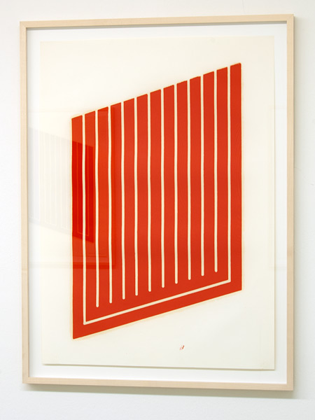 Donald Judd / Donald Judd Untitled (6-L)  1961-69 woodcut in cadmium red on cartridge paper 77.5 x 55.9 cm