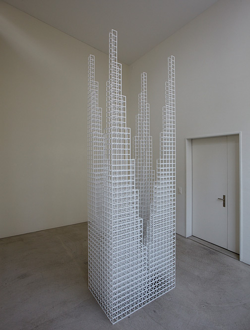 "Sol LeWitt / Sol LeWitt Four Towers  2007 327 x 103.5 x 67.3 cm / 108.75 x 40.75 x 26.5"" 1/4"" bass wood painted white"