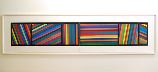 Sol LeWitt / Bands of Lines in Different Directions  1996  50.8 x 210.8 cm two part color aquatint Ed. 36 and AP 5/8