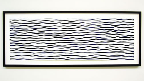 Sol LeWitt / Black and White Horizontal Lines on Color  2005  51 x 152 cm gouache   on paper