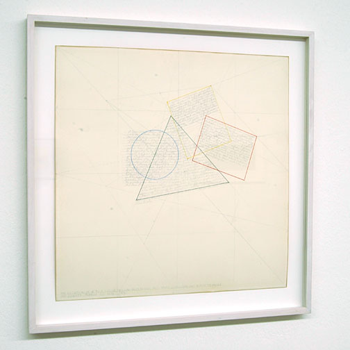 Sol LeWitt / The Location of a Blue Circle, Yellow Rectangle, Red Parallelogram and Black Triangle  1976 pencil and color ink on paper 37.5 x 38 cm   Private collection not for sale