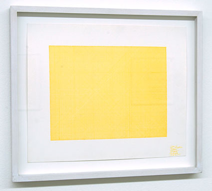 Sol LeWitt / Lines in Four Directions (Yellow)  1971 yellow ink on paper 22.5 x   27.5 cm   Private collection not for sale