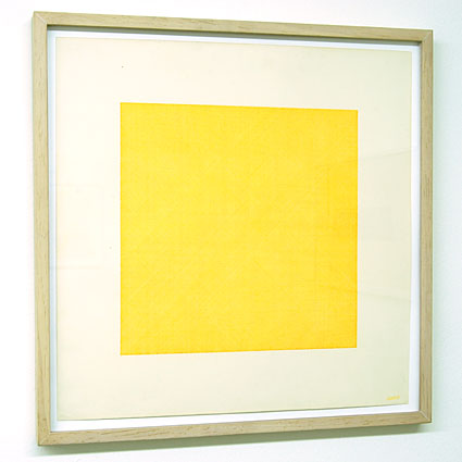 Sol LeWitt / Lines in Four Directions Superimposed  1971 yellow ink on paper 45.5   x 45.5 cm   Private collection not for sale