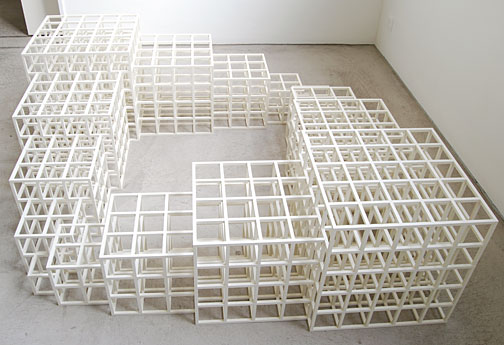 Sol LeWitt / 1, 2, 3, 4, 5 (Square)  1986 wood, painted white 48.5 x 164.5 x 164.5 cm  Private collection not for sale