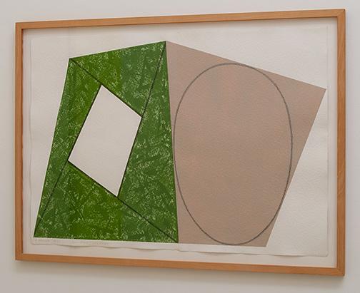 Robert Mangold / Robert Mangold Green Frame / Gray Ellipse   1987  76.2 x 106.7 cm acrylic and pencil on paper