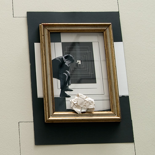 "Giulio Paolini / Da ""Lezione di pittura""  2009  40 x 30 cm Gold-plated frame, pencil and collage on paper and on the wall"